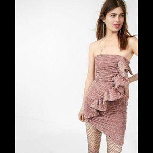 Express Pleated Ruffle Strapless Sheath Dress 2